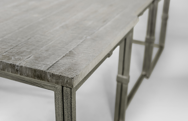 Coffee Table Grey Wood | Rectangular Brushed Silver | Alden