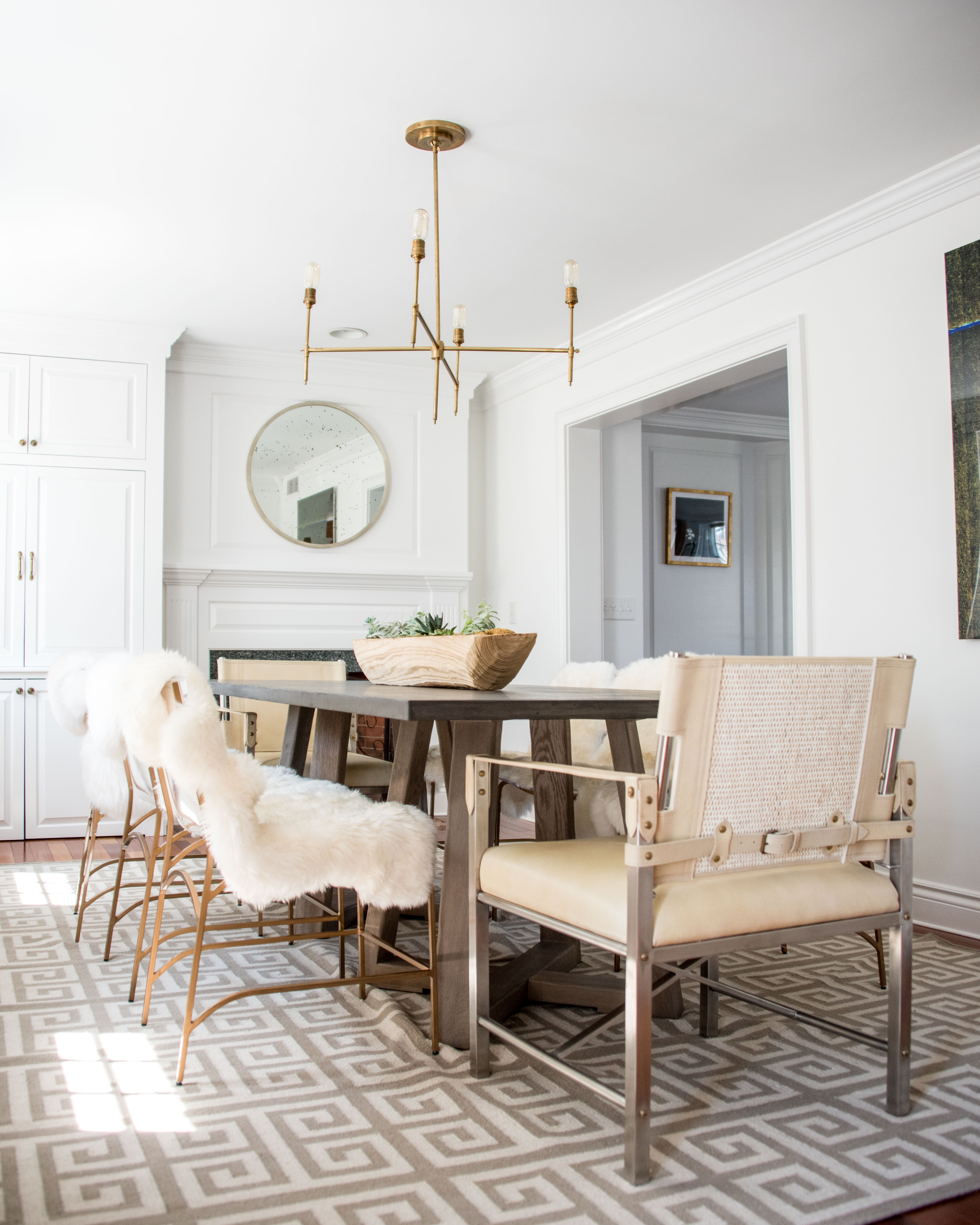 Katie Goodrich Of Ivory + Bone Interiors Provides Sumptuous Seating With  Sheepskin Draped Penelope Dining Chairs. Image Courtesy Of Freebird  Photography.