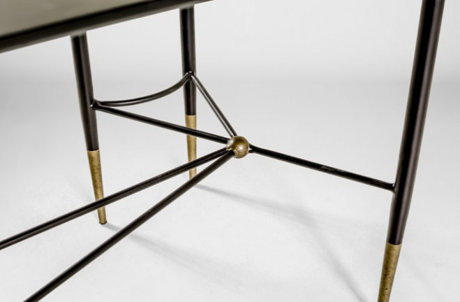 Amazing Collier Wrap Around Table | Black And Gold Sofa Table   Gabby
