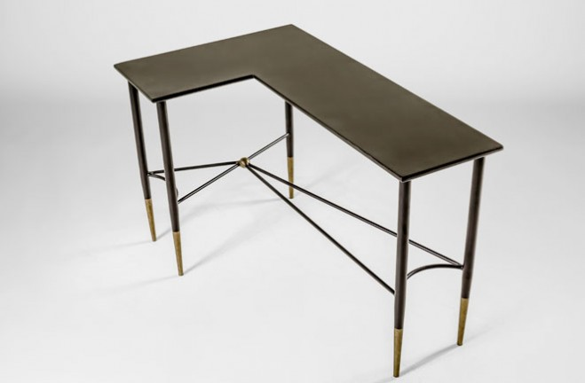 Collier Wrap Around Table | Black And Gold Sofa Table   Gabby