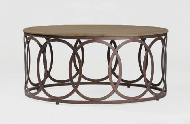 Rustic Oak Table Transitional Round Coffee Table Ella