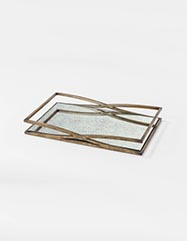 Tilley Antique Gold Mirrored Tray - Set of 2