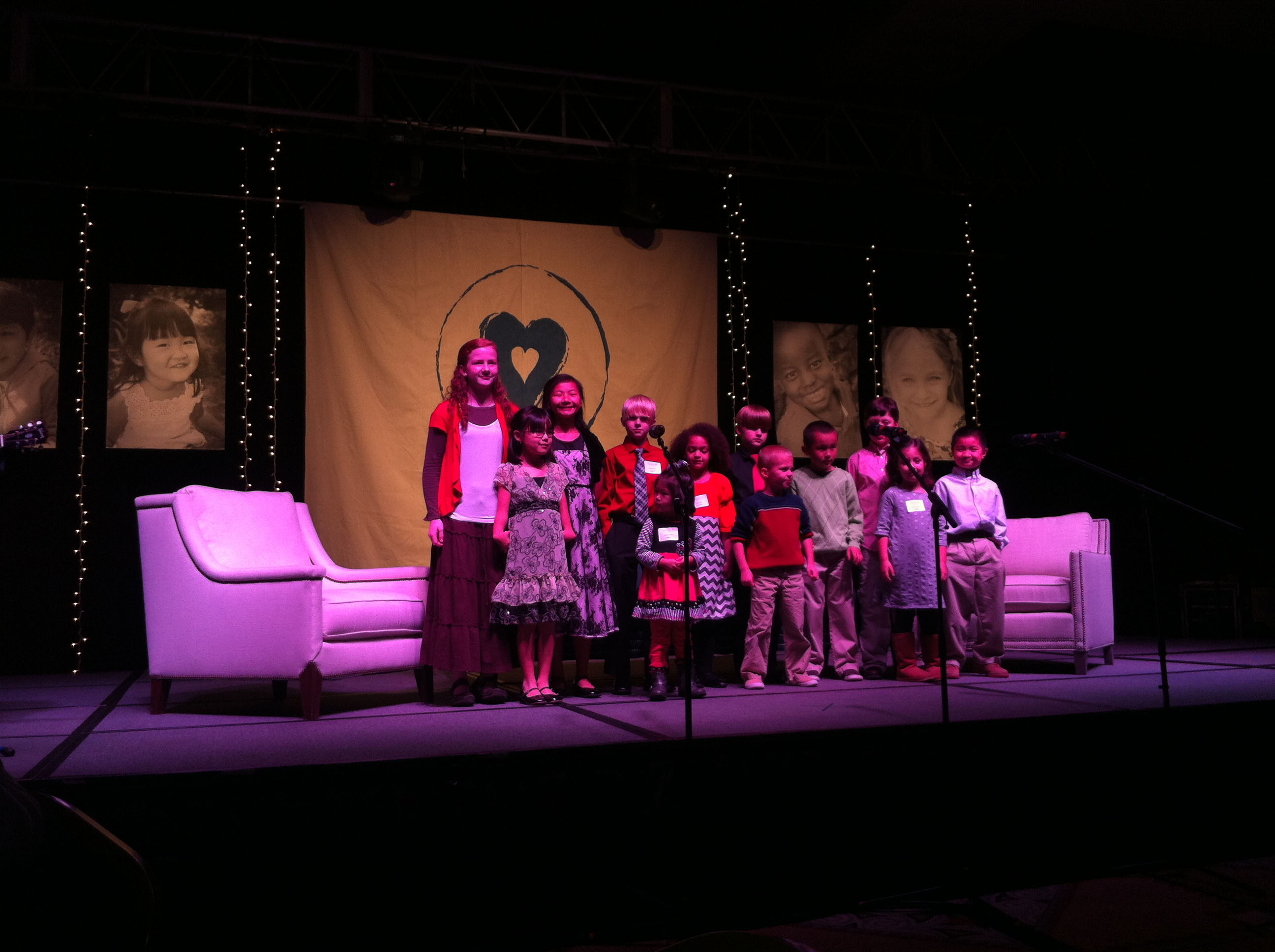 Children singing at Lifeline fundraiser sponsored by Gabby