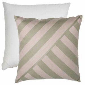 Sage And Pebble T-Stripe With Tufted Canvas Backing And Knife Edge