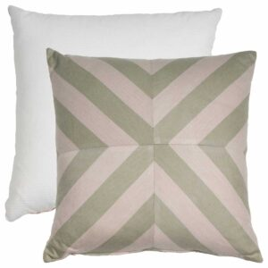 Sage And Pebble X-Stripe With Tufted Canvas Backing And Knife Edge