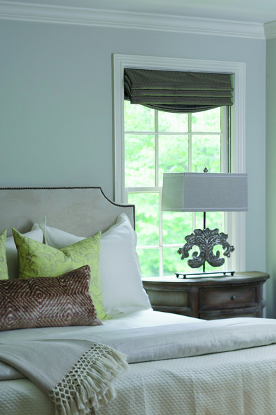 Transitional Bedroom with Upholstered Headboard and Taller Nightstand by Gabby