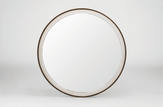 Large Round Gold Mirror: White And Gold Large Round Mirror
