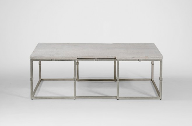 ... Alden rectangular coffee table grey wood & brushed silver - Gabby ... - Coffee Table Grey Wood Rectangular Brushed Silver Alden