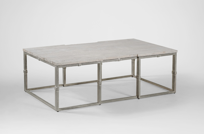 Coffee Table Grey Wood Rectangular Brushed Silver Alden