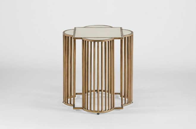 Harry Gold and White Quatrefoil Side End Table - Gabby