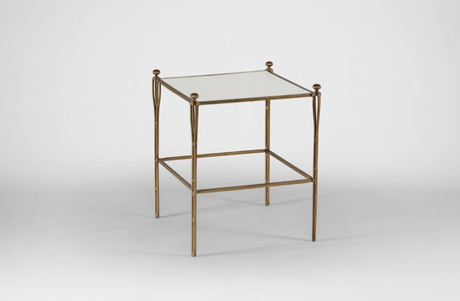 Adam Square Gold Side Table| Metal & Vellum Leather -Gabby