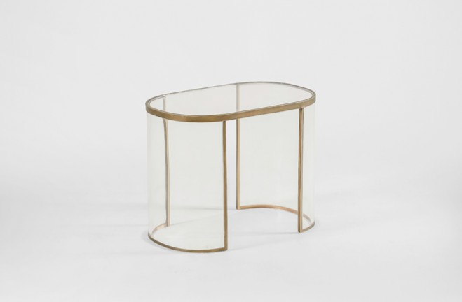 Cindy Bunching Table | gold metal and clear acrylic lucite accent table - Gabby