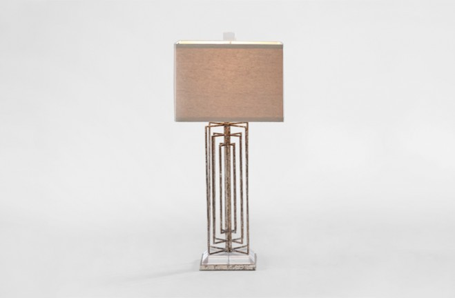 Tucker Silver Transitional Table Lamp with square linen shade - Gabby