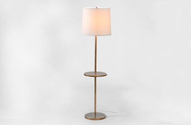 Morton Gold Floor Lamp with table - Gabby