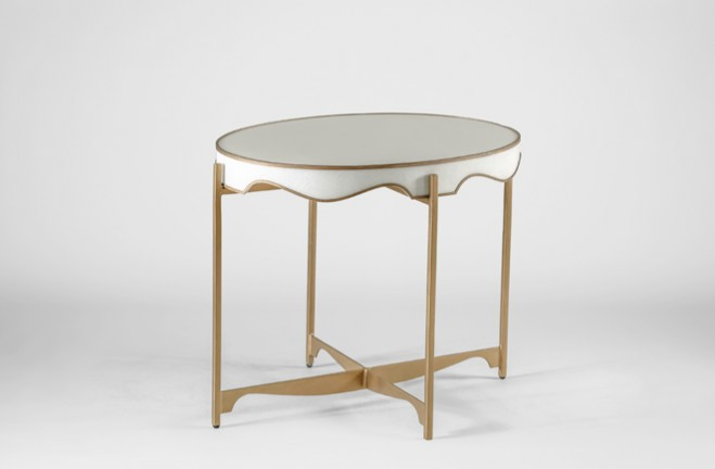 Trudy white and gold Oval Side Table - Gabby