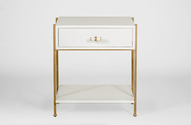 Gold And White Side Table