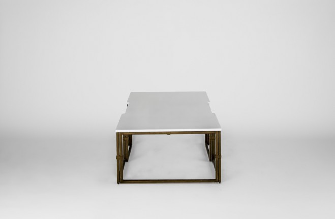 large gold and white coffee table | Stevens by Gabby