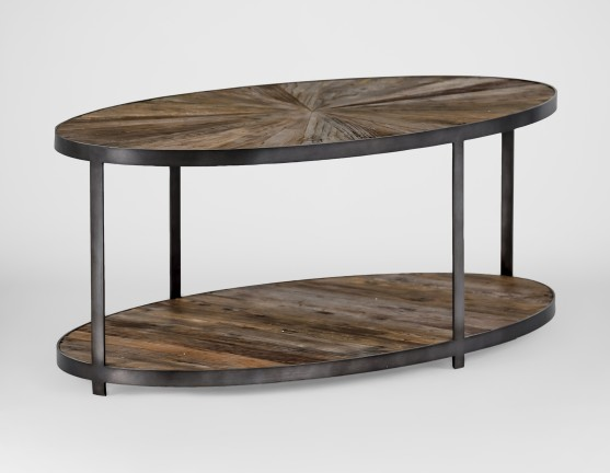 gabby ronald reclaimed wood sunburst oval coffee table