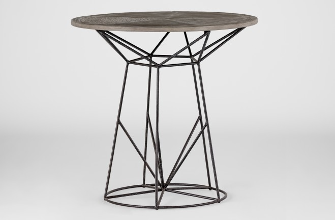 wood and wire side table | Charlie round end table