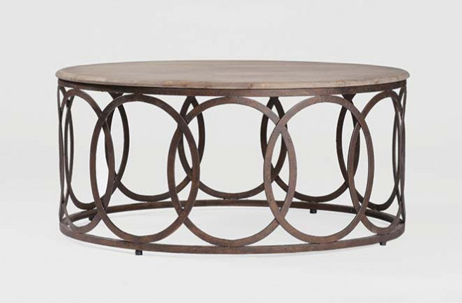 Rustic oak table transitional round coffee table ella coffee table Rustic iron coffee table