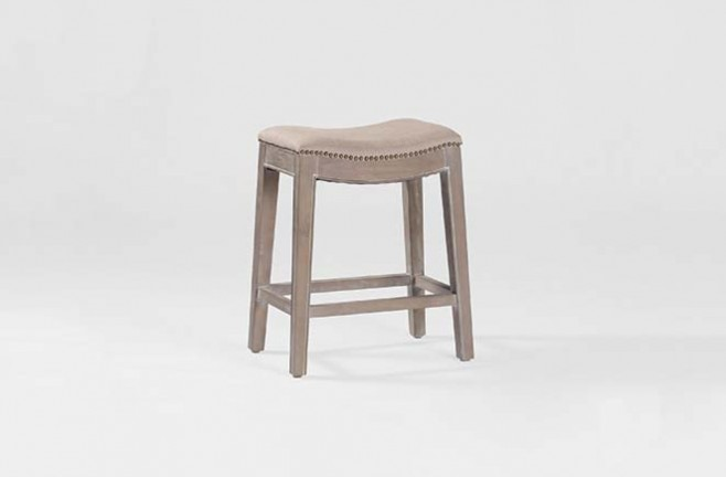 Transitional Linen Nailhead Counter Stool Vivian Counter