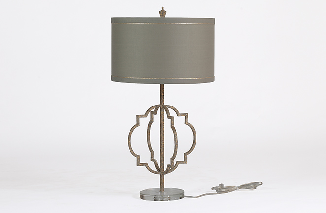 beveled glass, natural fabrics, and gold finish on the Charlotte Lamp