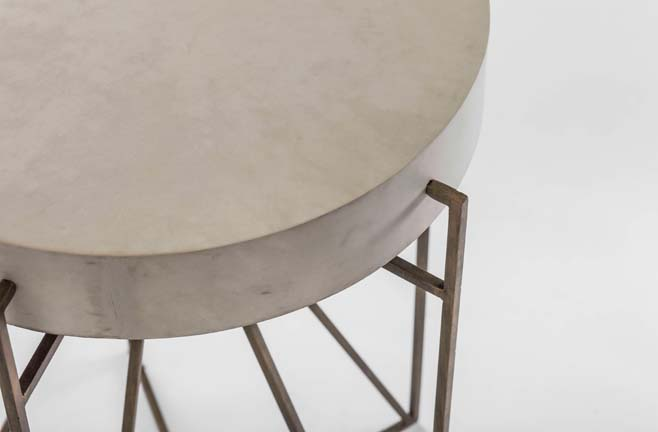 cream vellum and antique brass transitional side table