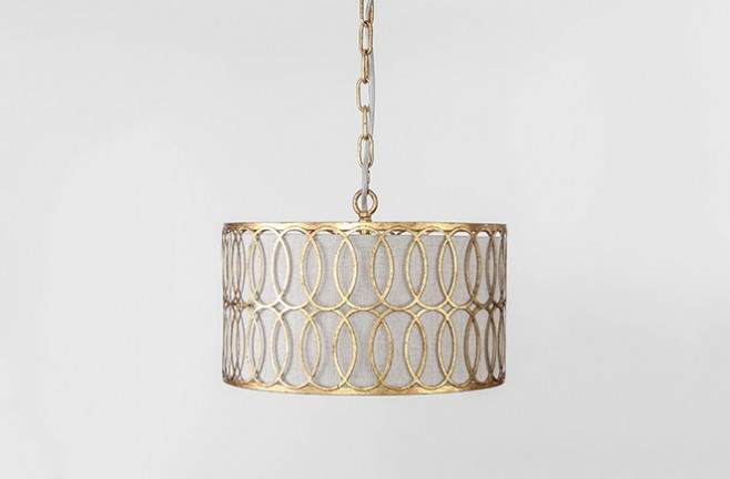 Peterson Gold & Linen Shade Drum Pendant - Gabby