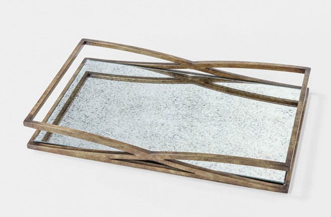 ... TILLEY TRAY - SET OF 2 - Tilley Antique Gold Mirrored Tray Coffee Table Tray