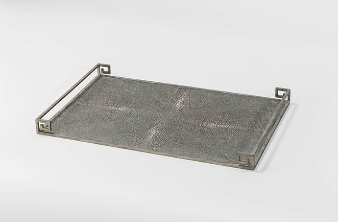 transitional shagreen service tray