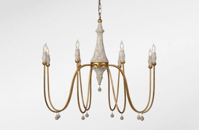 gold and white candle chandelier | Clay - Gabby