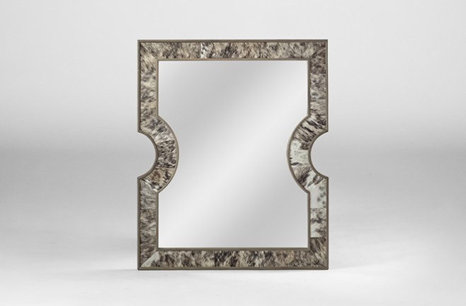 hair on hide rectangular mirror | Thomas