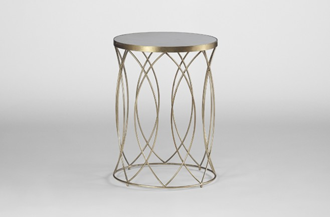 White Marble Top Side Table | Nicole Table - Gabby