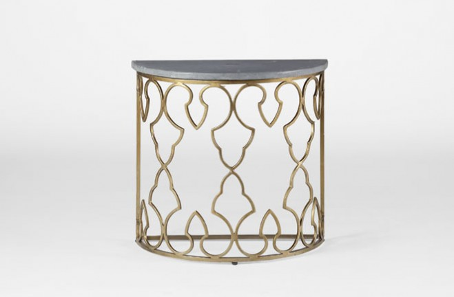 Demilune side table | Iron and marble accent table | Rodger