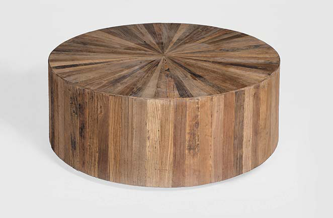 Reclaimed Wood Coffee Table On Image of Futuristic