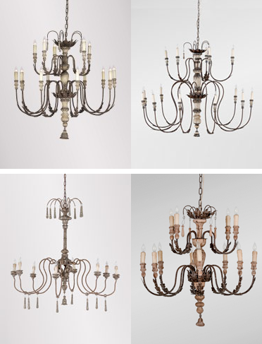 Series of Antique Style Chandeliers with layered finishes