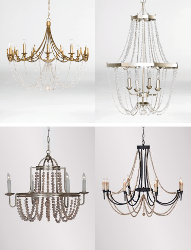 Gabby chandeliers with wooden beads
