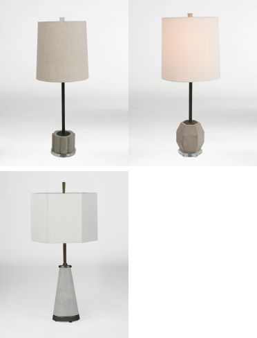 Gabby Lamps with concrete
