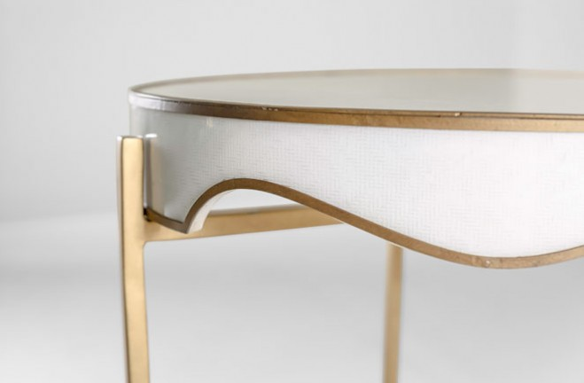 Trudy white and gold Oval Side Table - Gabby design