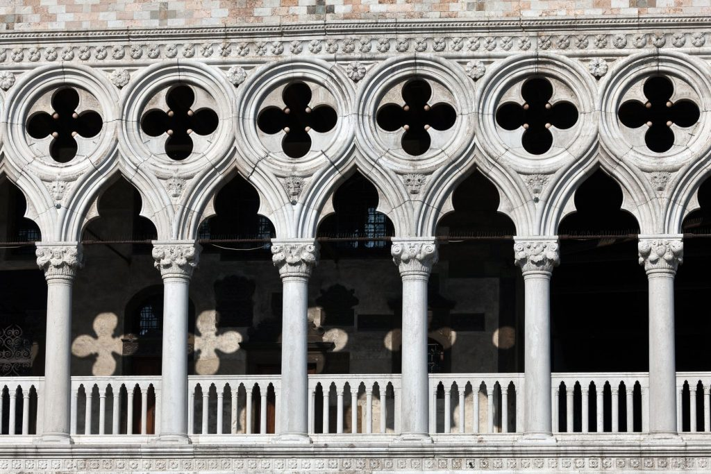 sequence of windows with quatrefoils
