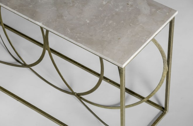 Gold Iron And White Marble Console Patterson By Gabby