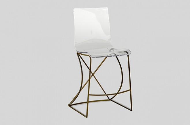 Transparent Acrylic Bar Stool Gold And Lucite Johnson