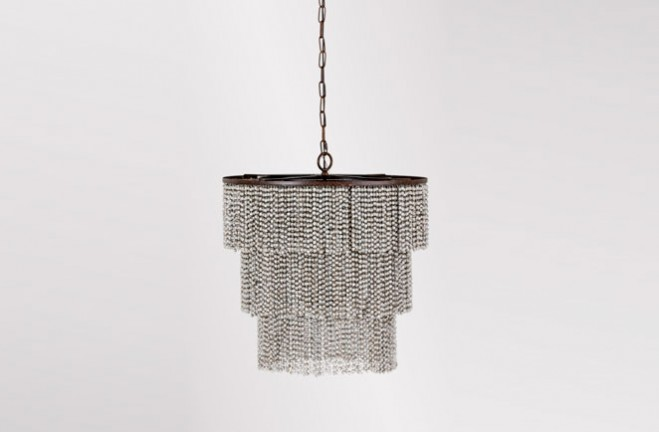 Etienne 3 tiered fringe chandelier with white & gray wood beads