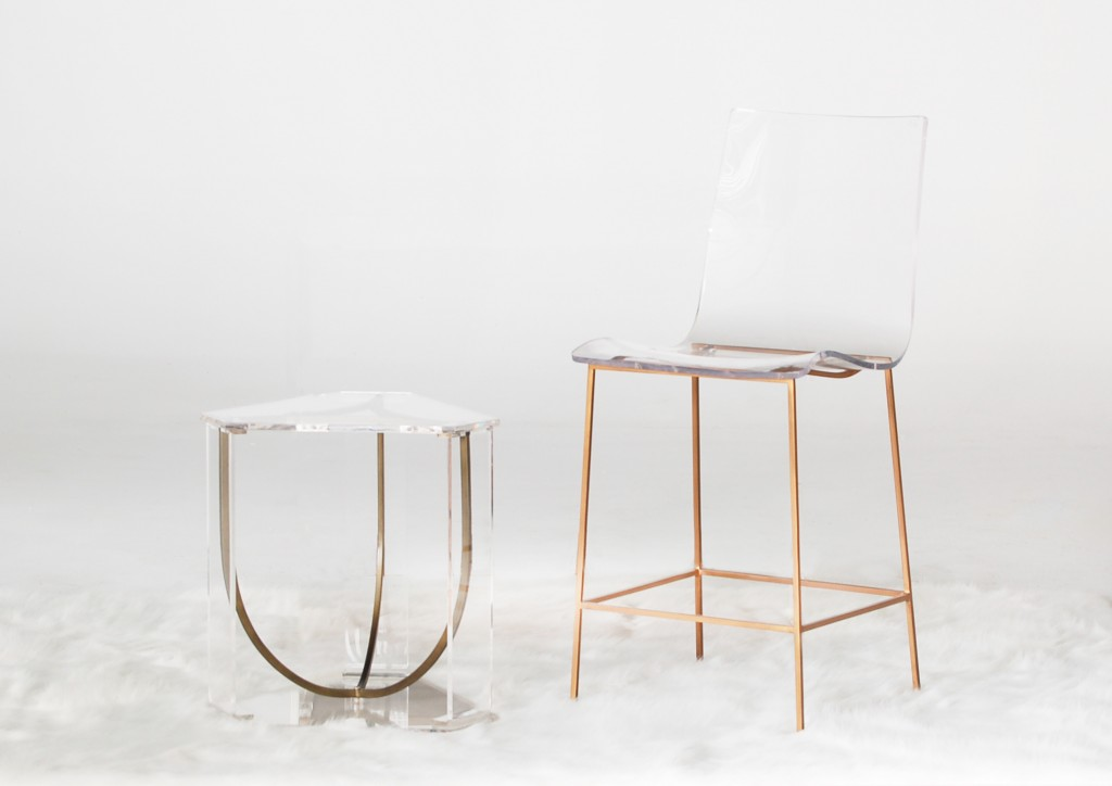 Lucite Clear Acrylic Counter Stool And End Table By Gabby
