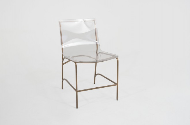 Lucite chair | gold and clear acrylic chair