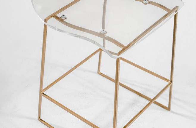 Clear Acrylic Bar Stool Lucite And Gold King Gabby