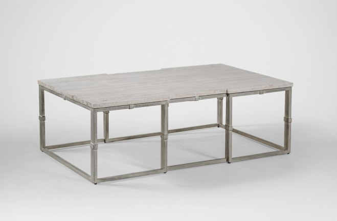 Alden rectangular coffee table grey wood & brushed silver - Gabby