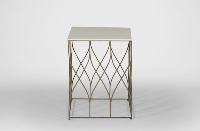Stratton white and gold Side Table | Bone and Metal End Table - Gabby