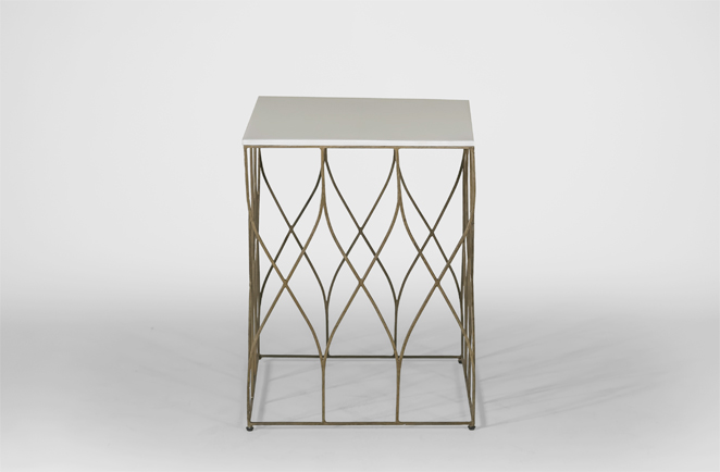 Stratton White And Gold Side Table | Bone And Metal End Table   Gabby