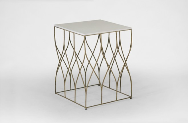 Charmant ... Stratton White And Gold Side Table | Bone And Metal End Table   Gabby
